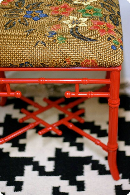 fire engine red bamboo stool