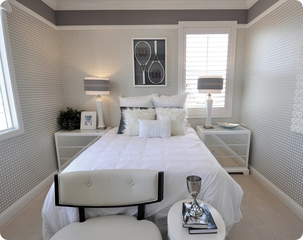 gray and white glam girls room