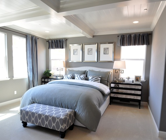next the master bedroom in shades of gray and white those glossy