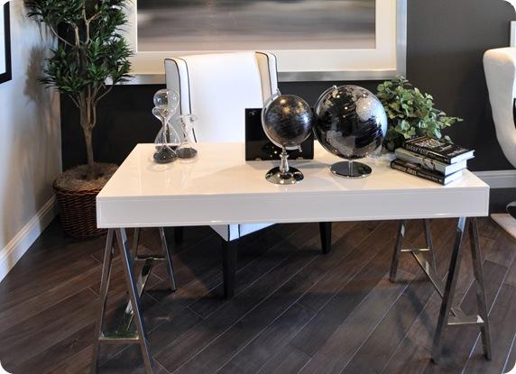 lacquer desk chrome sawhorse legs