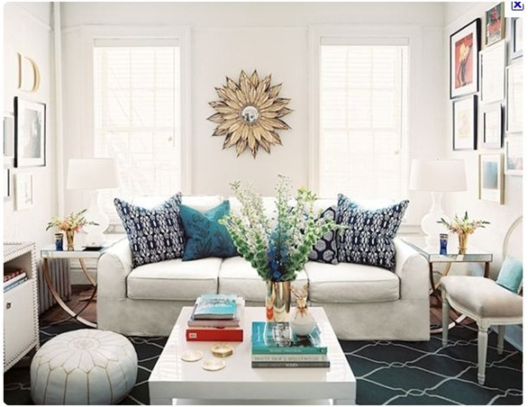 lonny blue lattic rug sunburst mirror