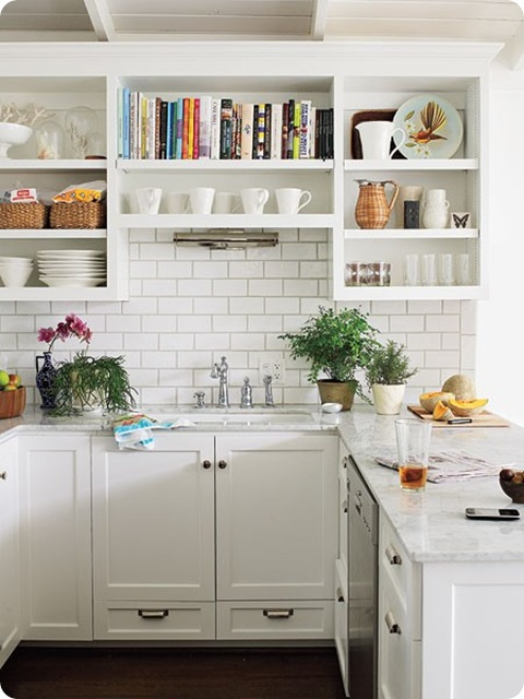 open shelving white kitchen