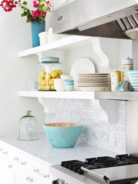 open shelving with corbels