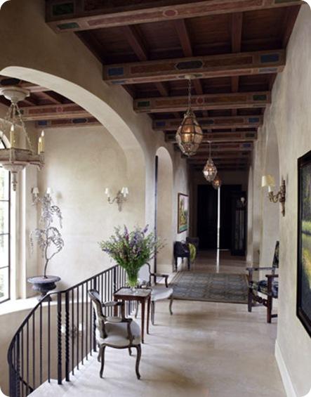 house beautiful wood beam hallway