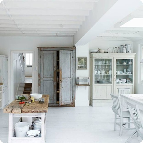 white rustic kitchen via apartment therapy