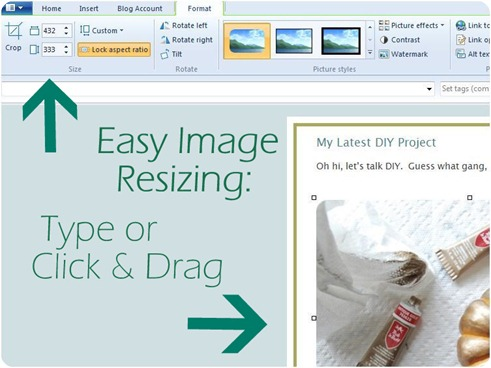 easy image resizing in windows live writer