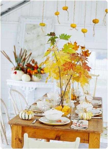 fall leaves on table bhg