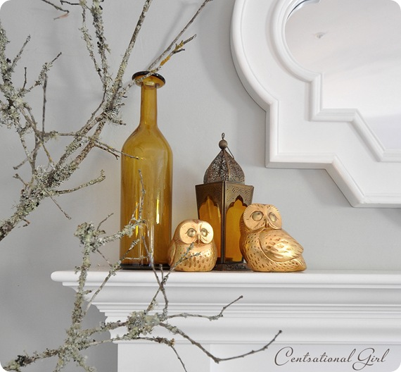 gold owls on mantel cg