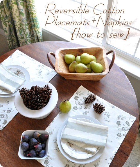 how to sew reversible cotton placemats and napkins