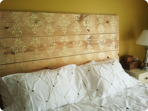 simply sjostedt stencil plank headboard