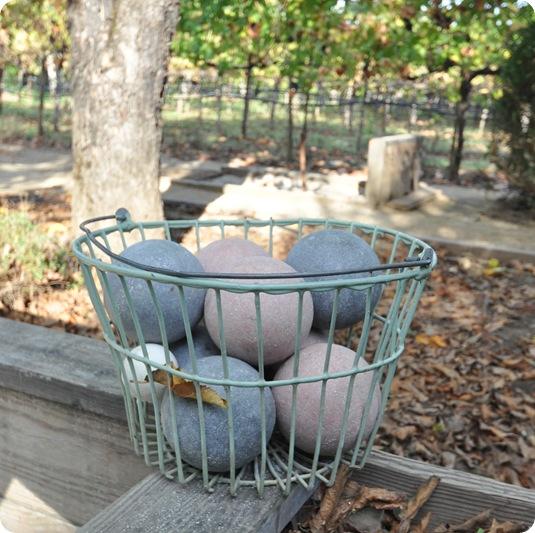 bocce balls in basket