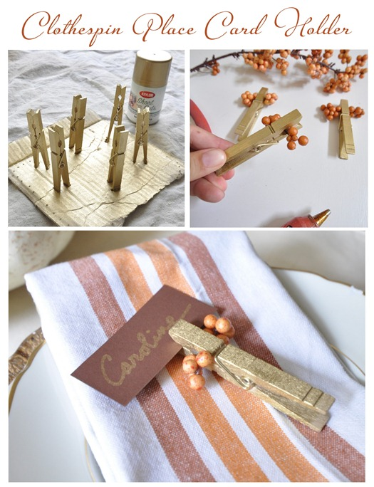 Easy and cheap idea for your fall tabletop clothespin place card