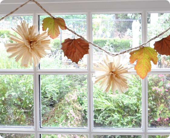 corn husk pom pom and leaf garland cg
