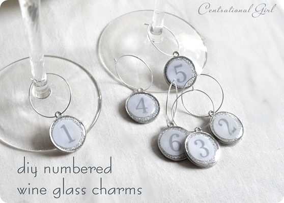diy numbered wine glass charms