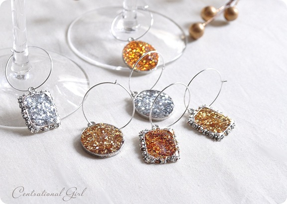 diy sparkle wine glass charms