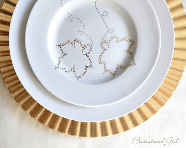 Dot painted dishes centsational style for Plain white plates ikea