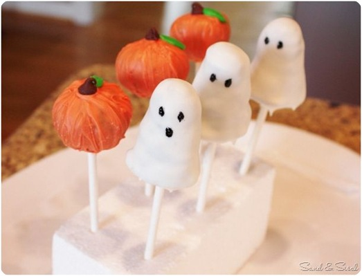 ghost and pumpkin pops sand and sisal