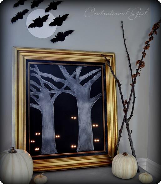 glowing eyes forest halloween art cg