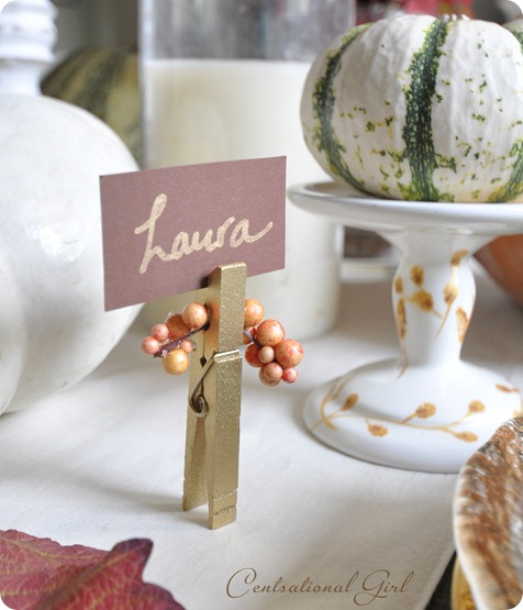 gold clothespin place card holder cg