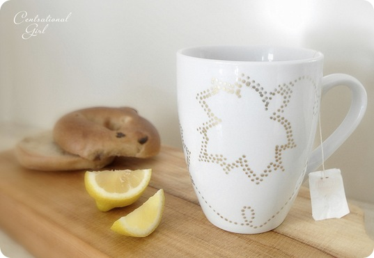gold dot painted teacup cg