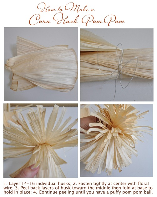 how to make corn husk pom pom