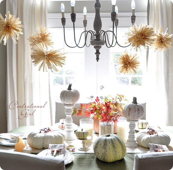 kate's fall dining room with pom poms