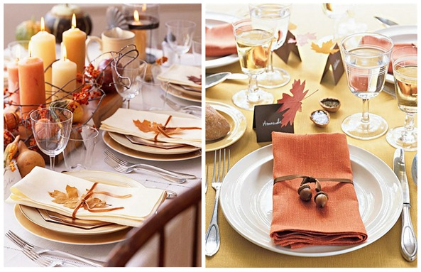 leaf and acorn napkin ties