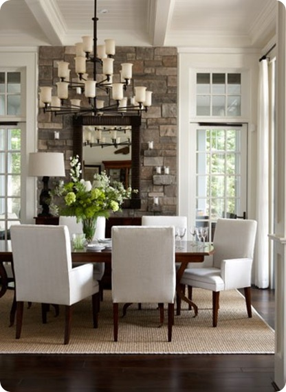neutral dining room stone wall