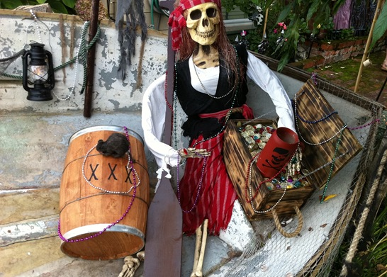 skeleton pirate in boat