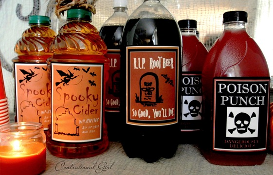 spooky labels for soda and juice cg
