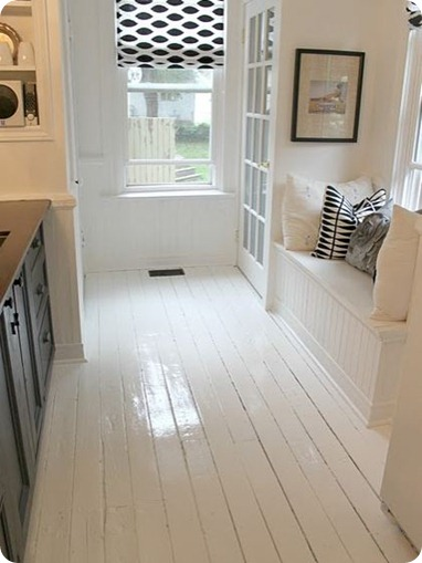 white painted floor