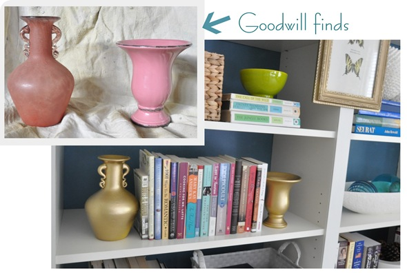 goodwill vases turned bookends