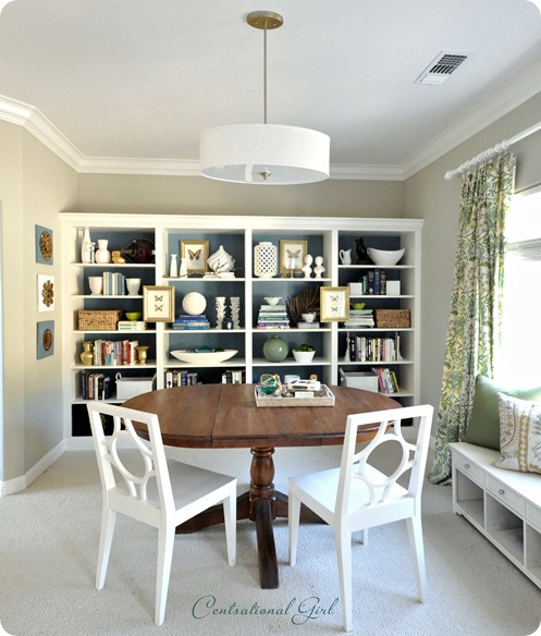 kates bookshelves and table