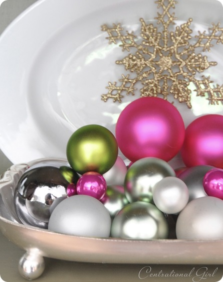 ornaments on silver tray