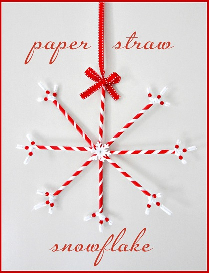 red paper straw snowflake with border
