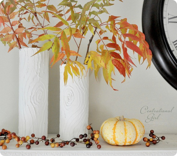 white faux bois vases fall