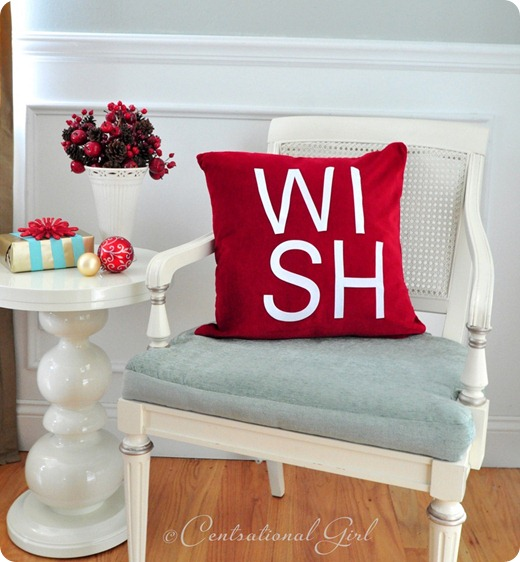 wish pillow on chair cg