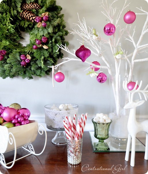 wreath and ornaments on sideboard