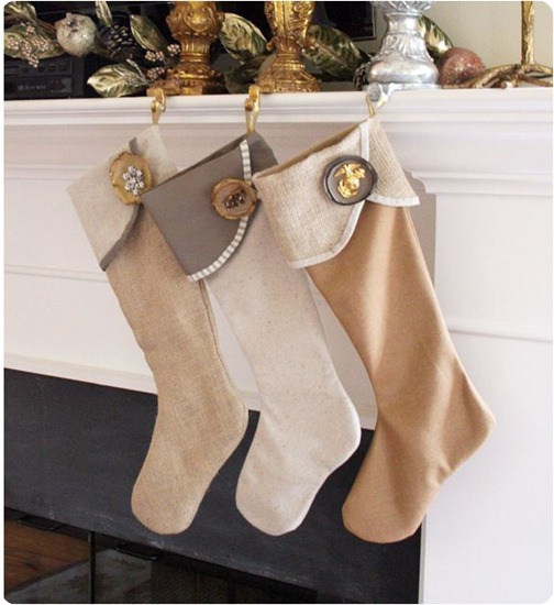 burlap and linen stockings