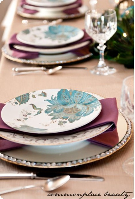 commonplace beauty peacock inspired tablescape