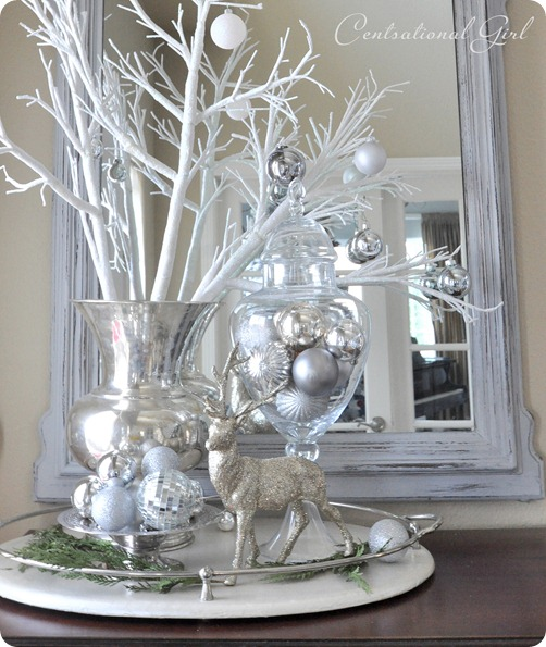 Christmas home tour 2011 centsational girl White christmas centerpieces