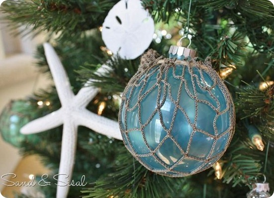 glass float ornament sand and sisal