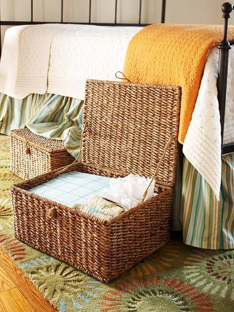 organized basket under bed