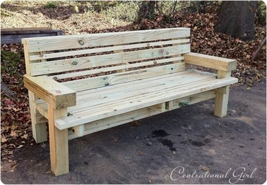 pine outdoor bench
