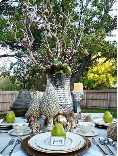 sparkling pear outdoor tablescape
