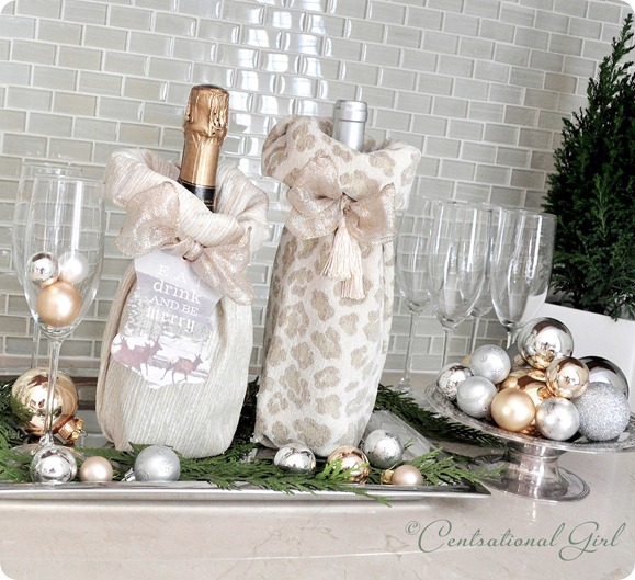 wine and champagne fabric gift bags