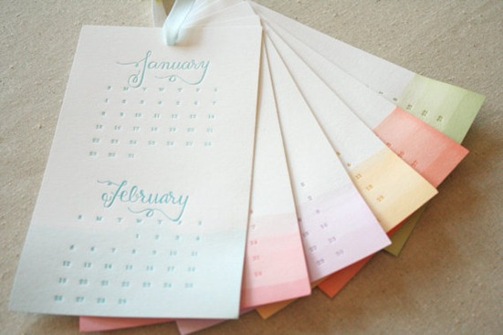 dip dyed ombre letterpress calendar