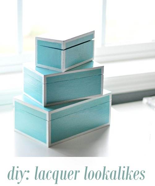 diy lacquer lookalike nesting boxes