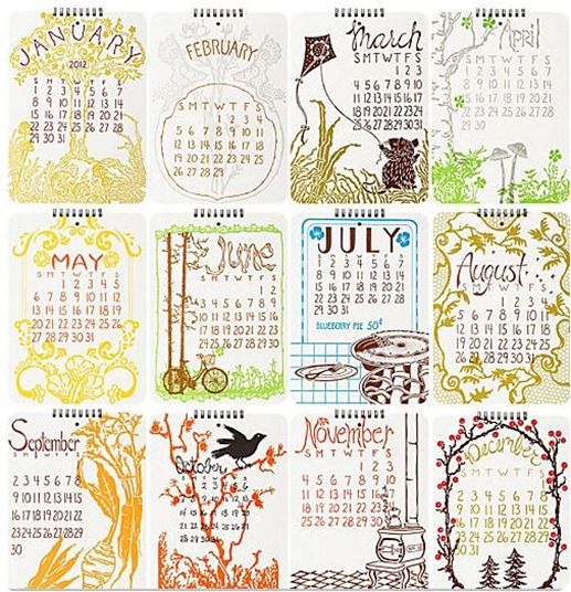 old school letterpress calendar papersource