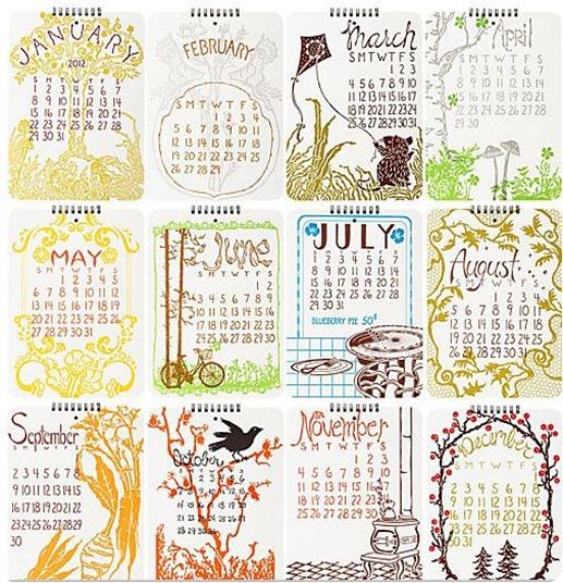 old school letterpress calendar papersource
